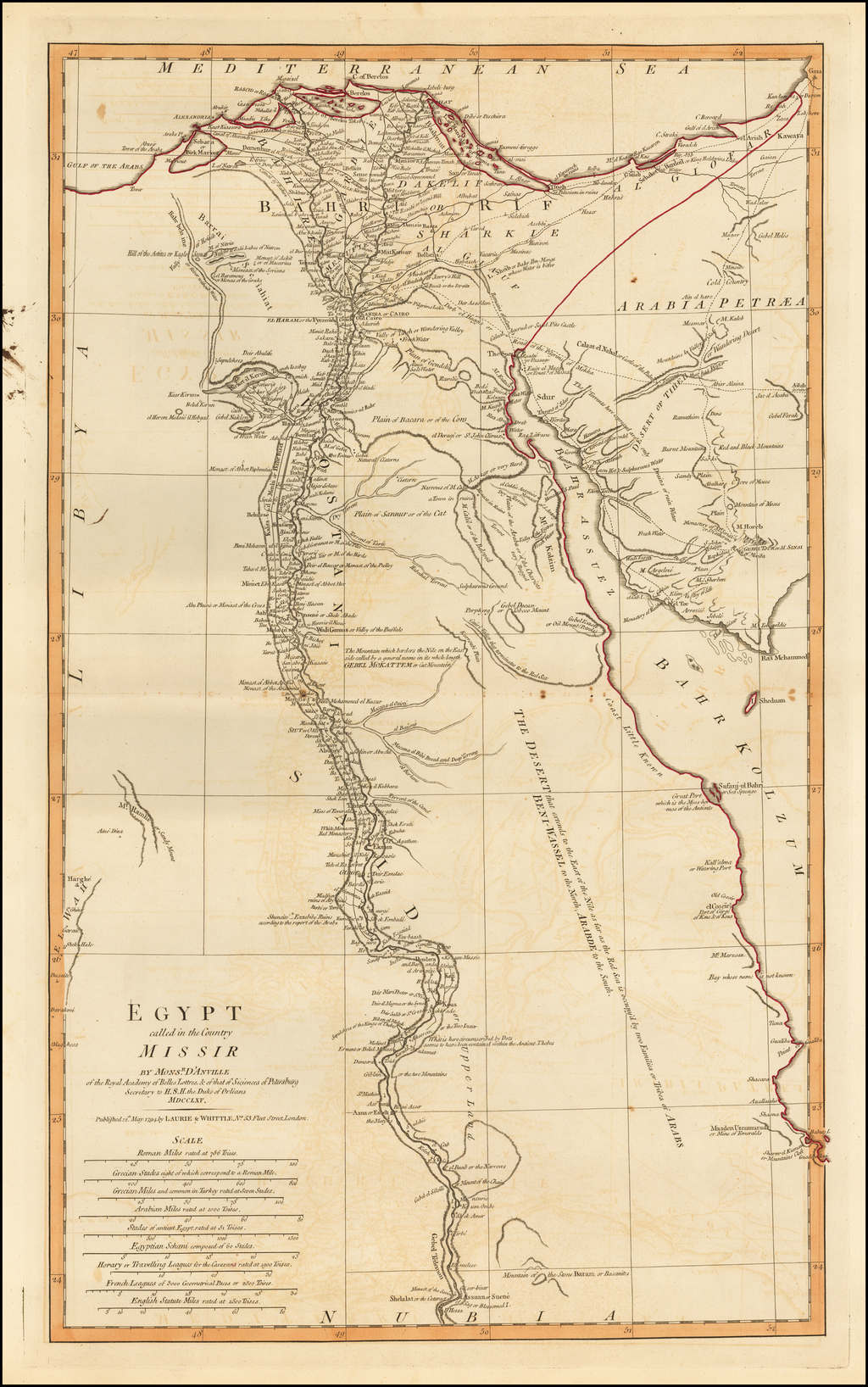 Egypt called in the Country Missir by Monsr. D'Anville of the Royal Academy of Belles Lettres, & of that of Siciences [sic] of Petersburg Secretary to H.S.H. the Duke of Orleans. MDCCLXV. By Laurie & Whittle