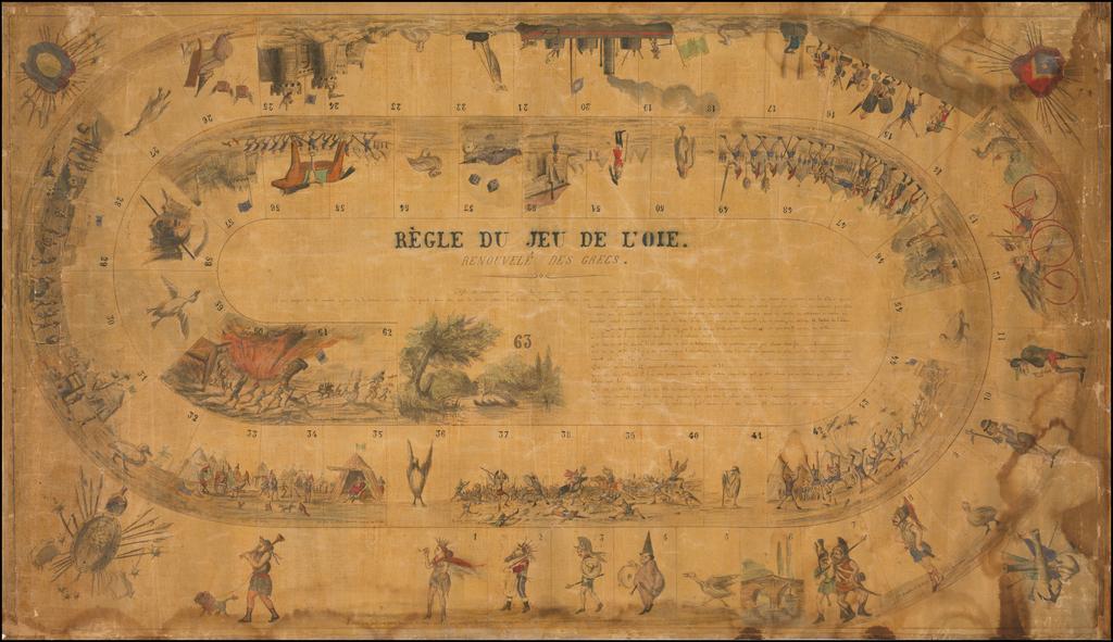 (Manuscript Game Board)  Regle Du Jeu De L'Oie.  Renouvele Des Grecs. By Anonymous