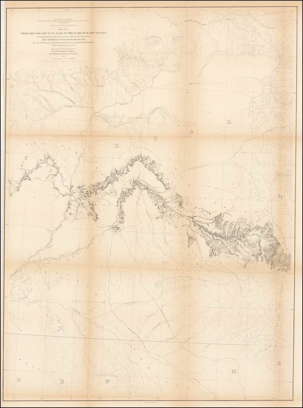 Map No.4. From the Coo-Che-To-Pa Pass to the Wahsatch Mountains . . . by Capt. J.W. Gunnison . . . 1855 By U.S. Pacific RR Survey