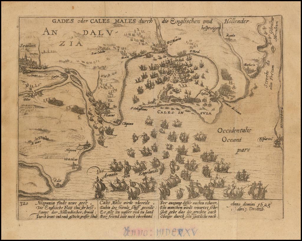 Gades oder Cales Males durch die Englishcen und Hollener . . . Anno domini 1625 . . .  By Frans Hogenberg