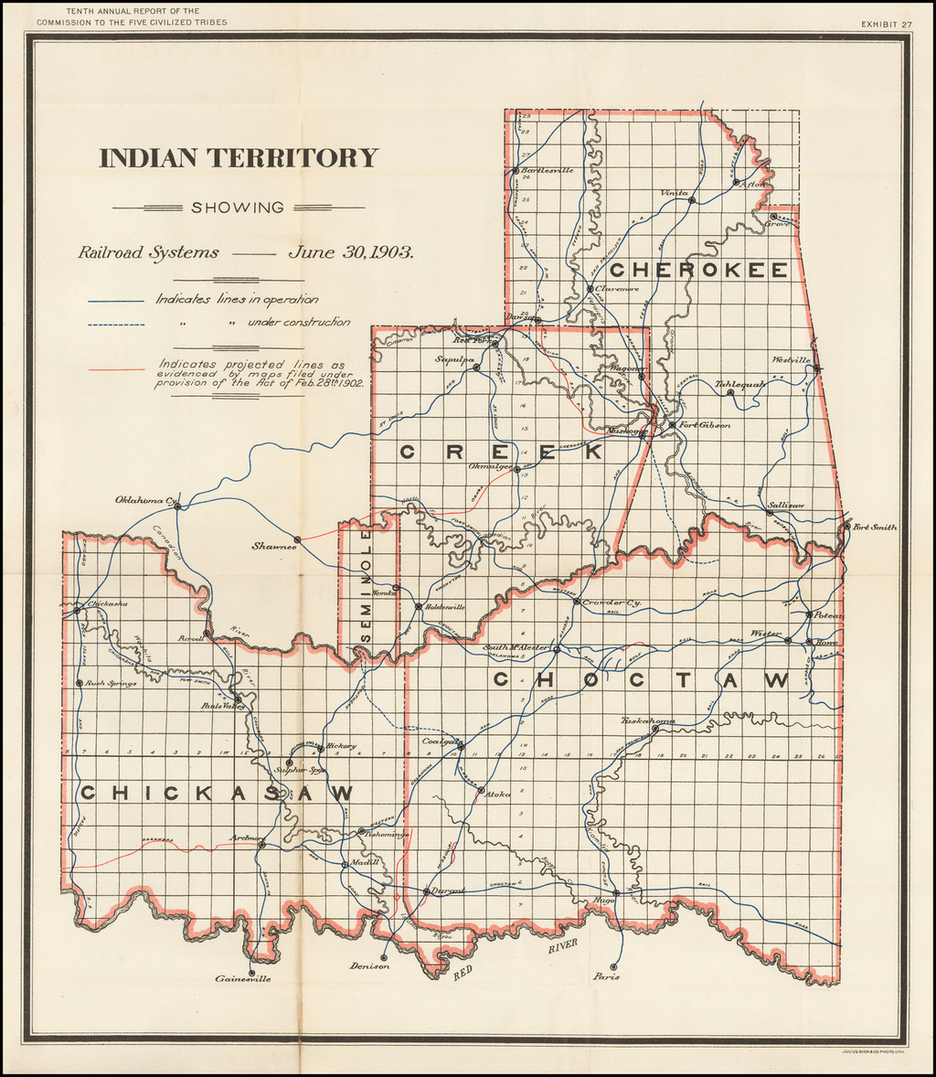 Indian Territory Showing Railroad Systems -- June 30, 1903 By United States Department of the Interior