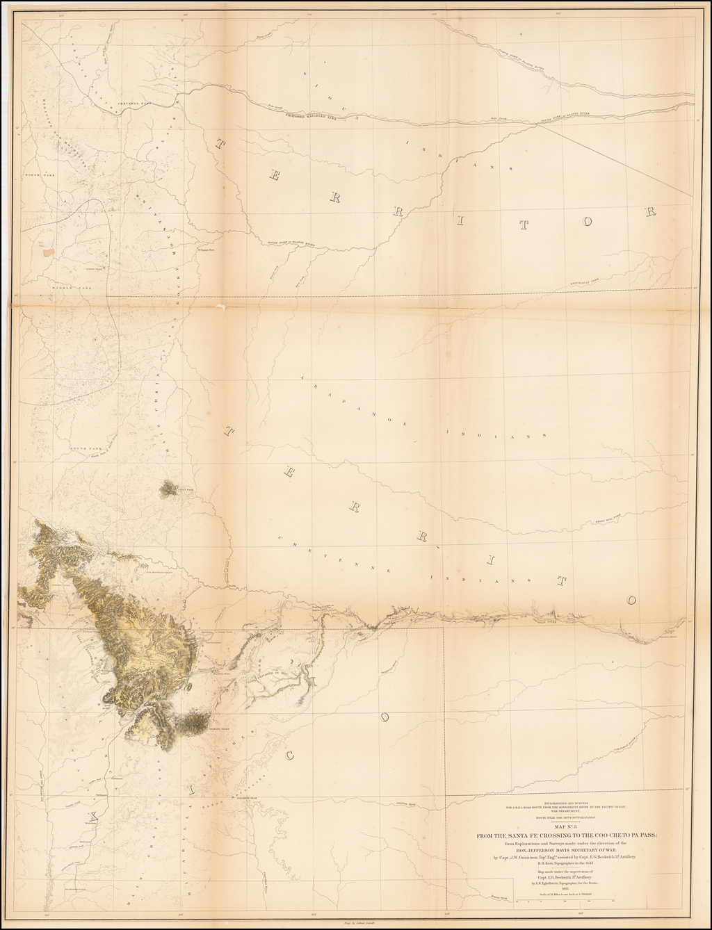 Map No.3. From the Santa Fe Crossing to Coo-Che-To-Pa Pass  . . . by Capt. J.W. Gunnison Topl. Engrs assisted by Capt E.G. Beckwith 3d Artillery R.H. Kern, Topographer in the field . . . 1855 By U.S. Pacific RR Survey