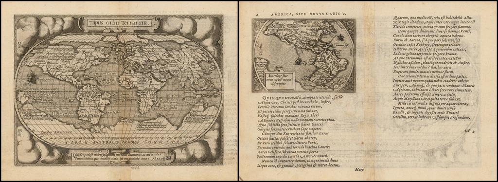 Tiipus orbis Terrarum (with) Americae Sive novi orbis nova descriptio By Abraham Ortelius / Philippe Galle