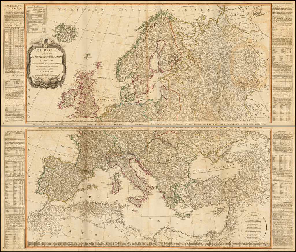 A New and Accurate Map of Europe.  Divided into its Empires, Kingdoms, States and Republics &c. . . 1795 By Robert Sayer