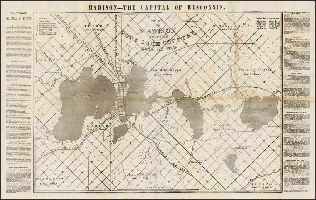 Map of Madison and the Four Lake Country Dane Co. Wis. By Anonymous