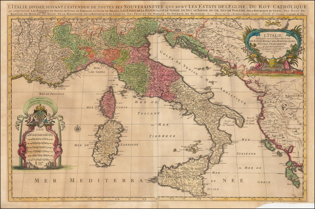 L'Italie Distinguee Suivant L'Estendue de tous Les Etats, Royaumes, Republiques, Duches, Principautes qui la partagent presentement . . . 1696 By Alexis-Hubert Jaillot
