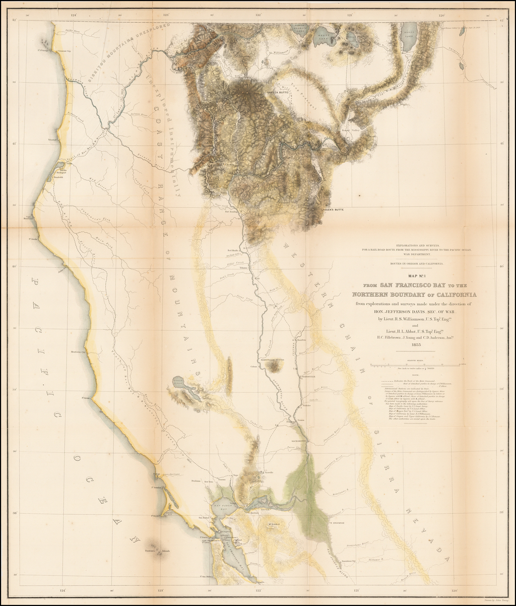 Routes in Oregon and California.  Map No. 1.  From San Francisco Bay to the Northern Boundary of California from explorations and surveys made under the direction of Hon. Jefferson Davis . . . by Lieut. R.S. Williamson . . . and Lieut H.L. Abbot . . . 1855 By U.S. Pacific RR Surveys
