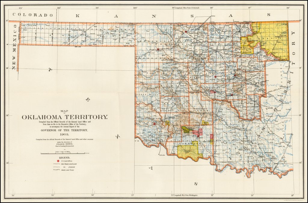 Map of the Oklahoma Territory.  Compiled from the Official Records of the General Land Office and from data on file in the Executive Office of the Territory . . . 1903 By U.S. General Land Office
