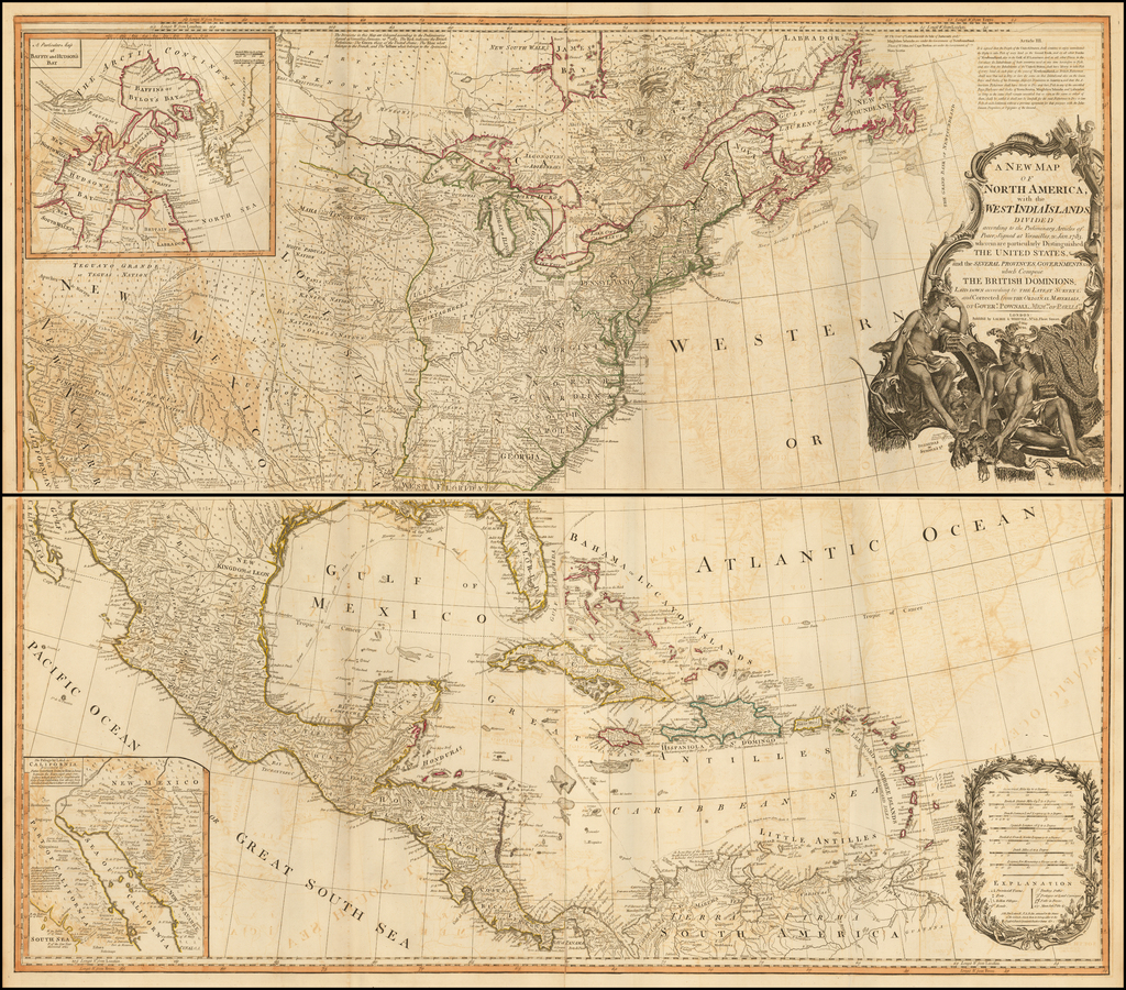 A New Map Of North America With The West India Islands Divided According To The Preliminary Articles Of Peace Signed At Versailles 20 Jan 1783 Wherein Are Distinguished The United States And