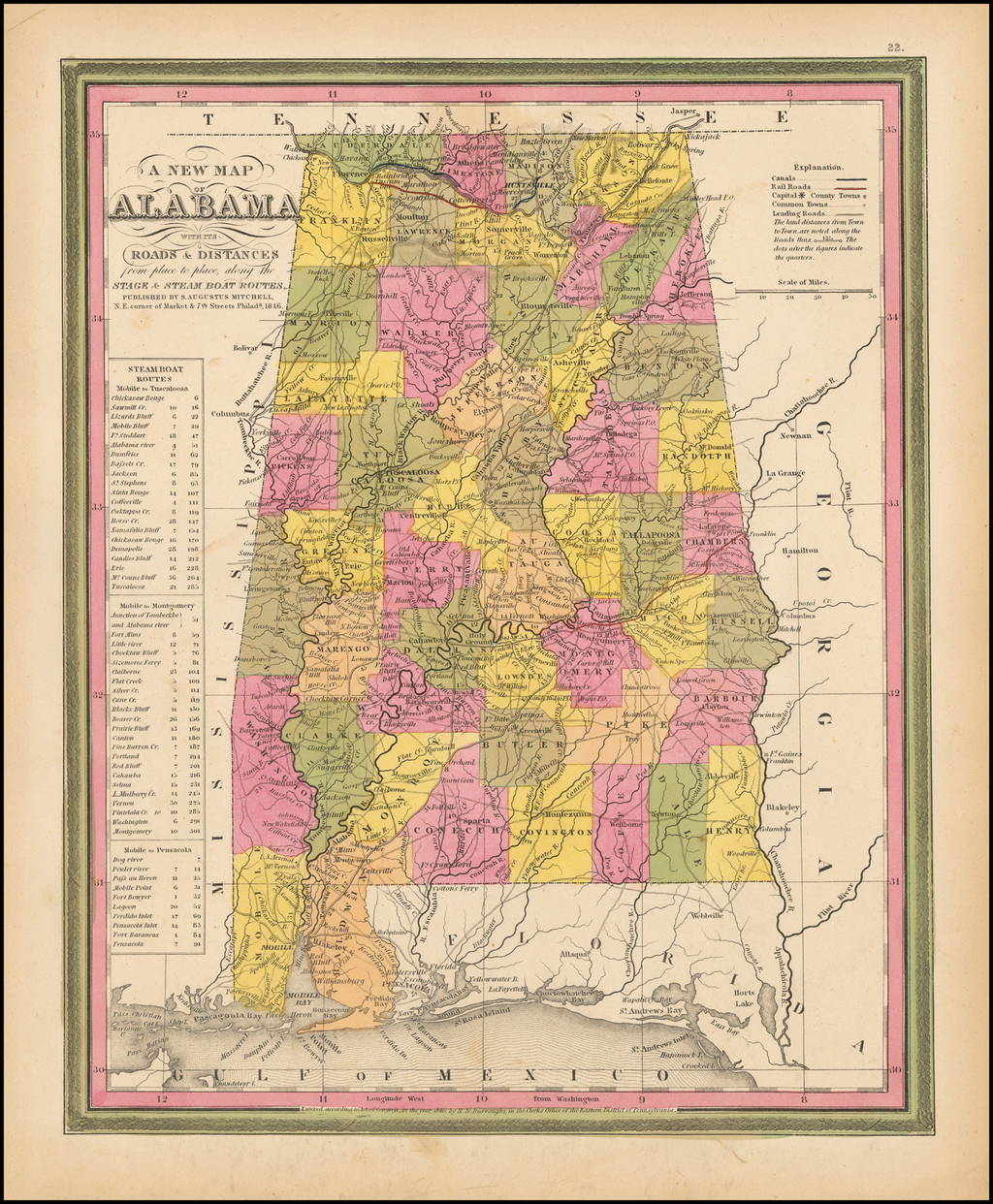 A New Map Of Alabama with its Canals, Roads, Distances from Place to Place, along the Stage & Steam Boat Routes . . .   By Samuel Augustus Mitchell