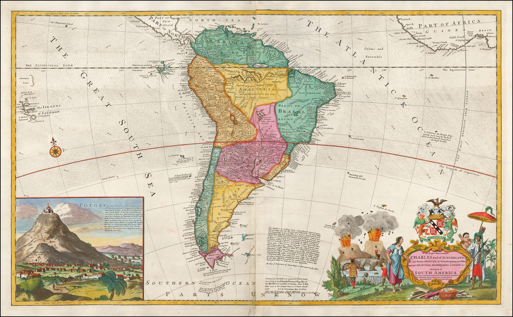 To the Right Honorable Charles Earl of Sunderland, and Baron Spencer of Wormleighton ... this Map of South America, According to the Newest and Most Exact Observations is Most Humbly Dedicated . . .  By Herman Moll