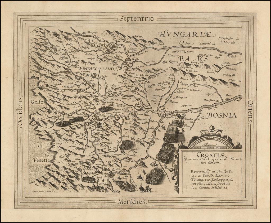 Croatiae, & circumiacentiu Regionu versus Turcam nova delineatio By Cornelis de Jode