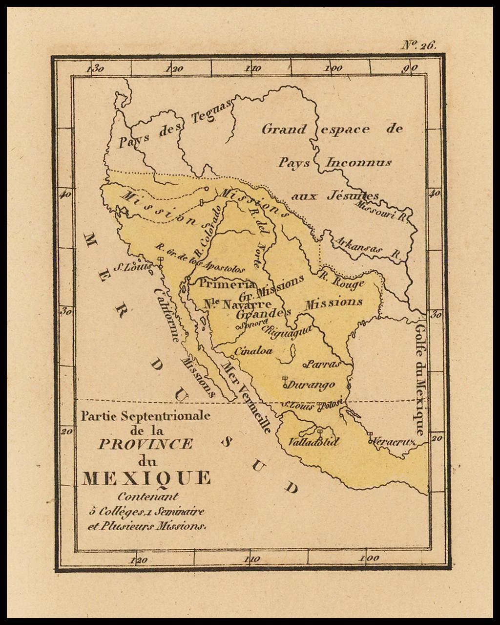 Partie Septentrionale de la Province du Mexique contenant 5 Colléges 1 Seminaire et plusieurs Missions By Louis Denis