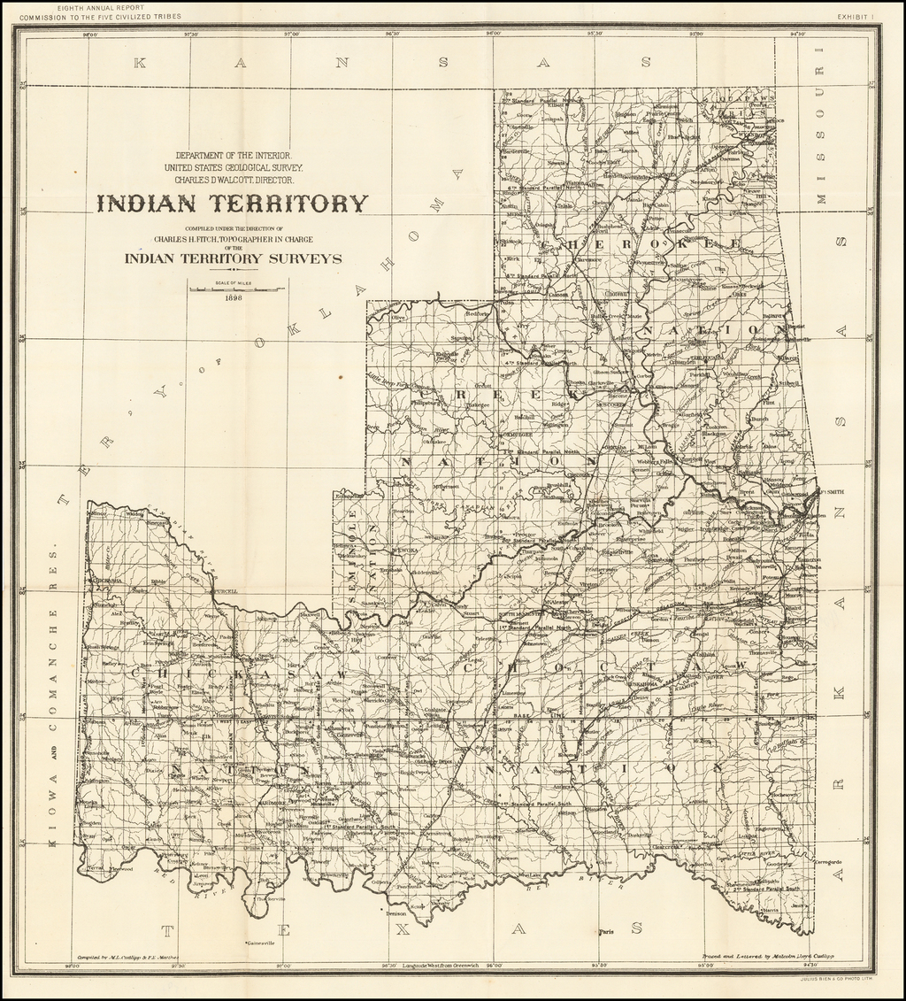 Indian Territory. Compiled under the direction of Charles H. Fitch, Topographer in Charge of the Indian Surveys. . . 1898 By United States Department of the Interior