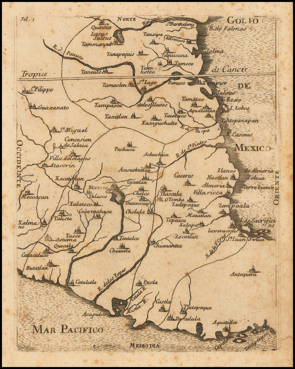 [Engraved Map of Central Mexico, then New Spain] By Anonymous