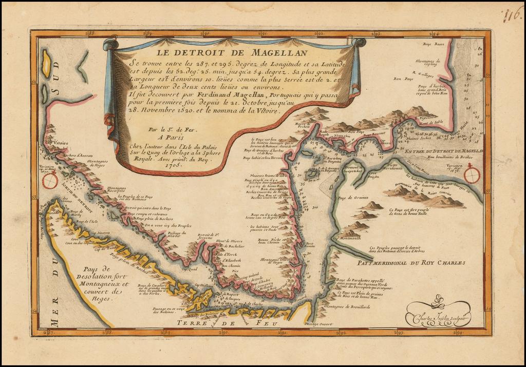 Le Detroit De Magellan . . . Il fut decouvert par Ferdinand Magellan . . . 1705 By Nicolas de Fer