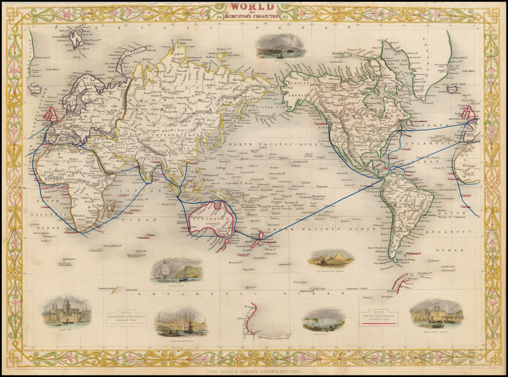 The World on Mercator's Projection By John Tallis