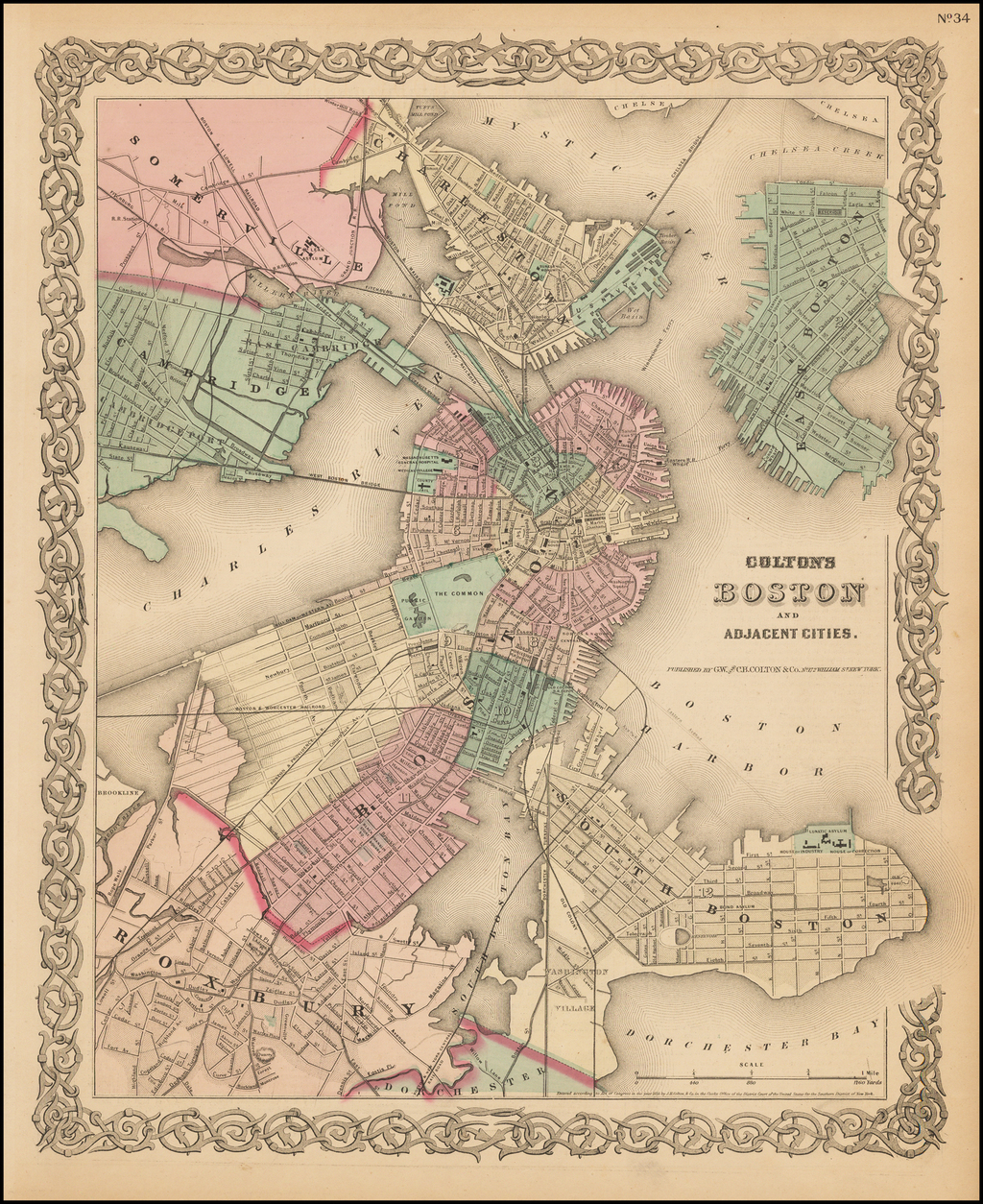 Colton's Map of Boston And Adjacent Cities By Joseph Hutchins Colton