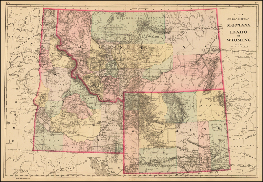 County and Township Map Montana, Idaho, and Wyoming By Samuel Augustus Mitchell Jr.