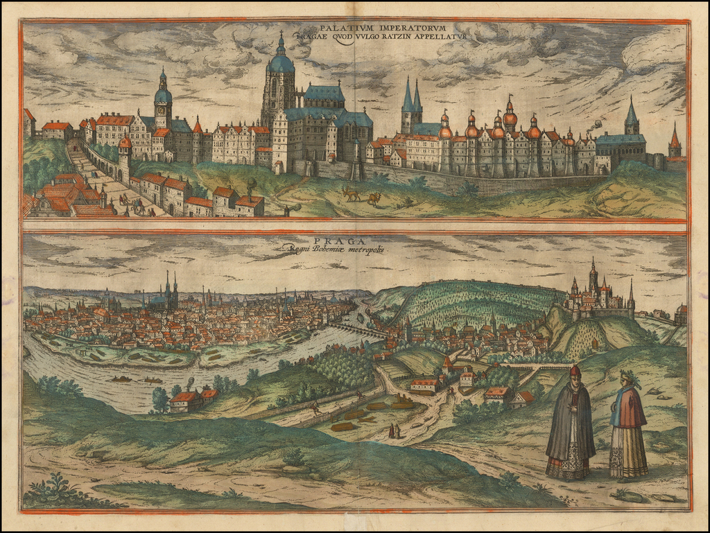 Palatium Imperatorum Pragae Quod Ratzin Appellatur (and)  Praga Regni Bohemiae metropolis By Georg Braun  &  Frans Hogenberg
