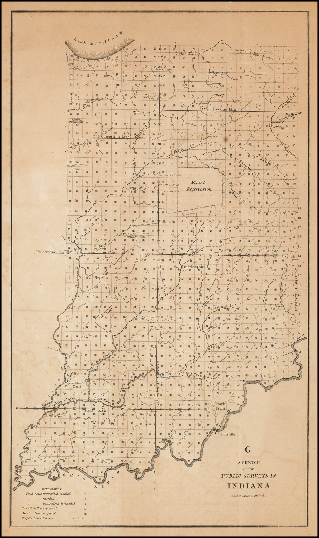 A Sketch of the Public Surveys In Indiana  Scale 18 miles to an inch. By U.S. State Surveys / Smith & McClellan