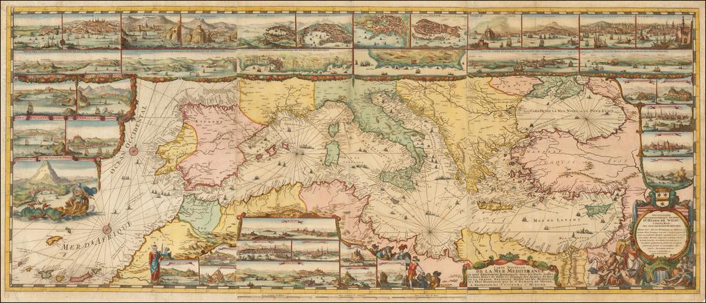 Carte Nouvelle De La Mer Mediterranee ou sont Exactement Remarques tous les Ports, Golfes, Rochers, Banks, de Sable &c . . .   By Romeyn De Hooghe
