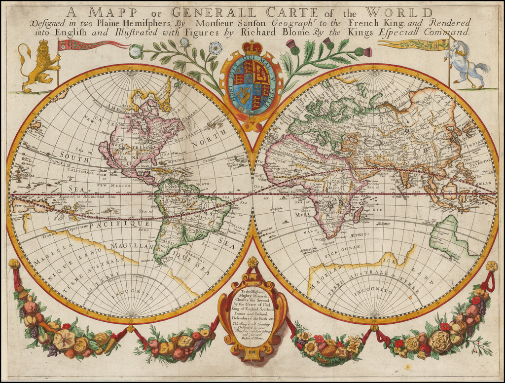 A Mapp or Generall Carte of the World Designed in two Plaine Hemisphers, By Monsieur Sanson Geographr to the French King and Rendered into English and Illustrated with Figures by Richard Blome By the Kings Especiall Command By Richard Blome