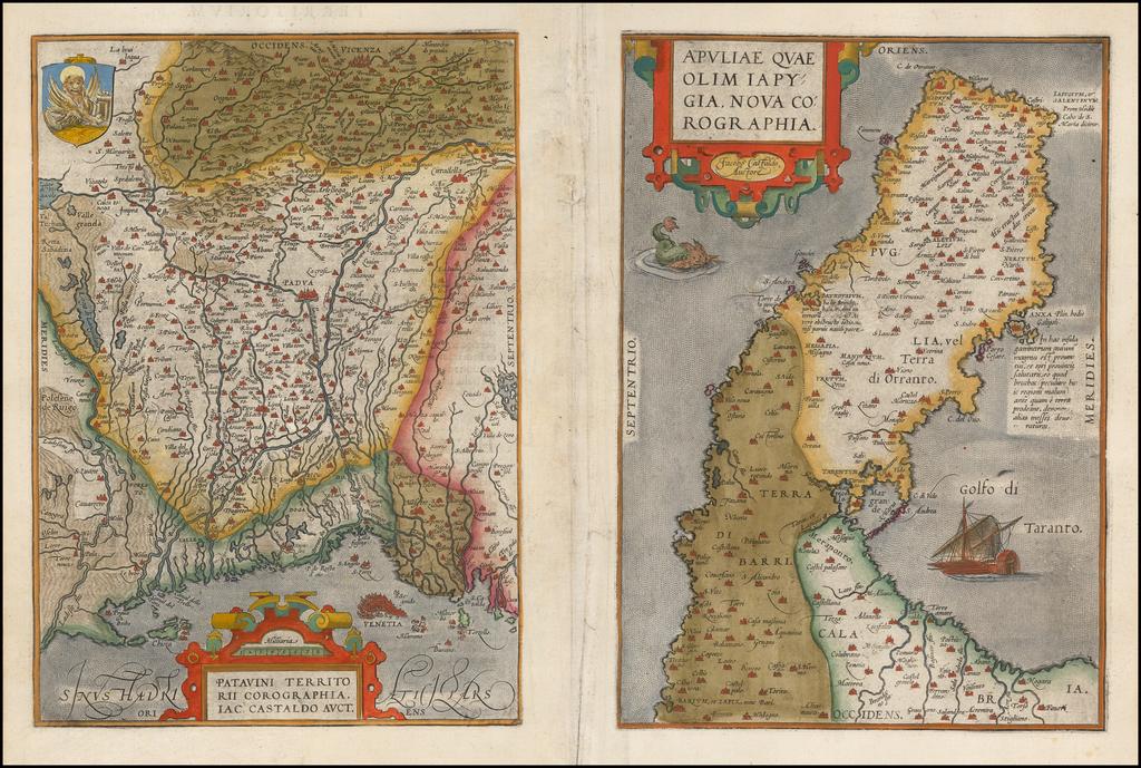 [Padua & Puglia]  Patavini Territorii Corograpia Iac. Castaldo Auct. [and] Apuliae Quae Olim Iapygia Nova Corographia By Abraham Ortelius