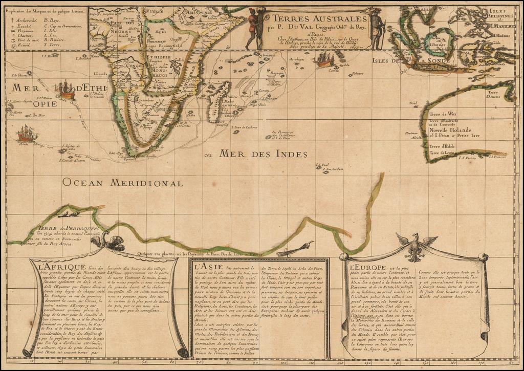 Terres Australes par P. Du Val . . . 1677 By Pierre Du Val