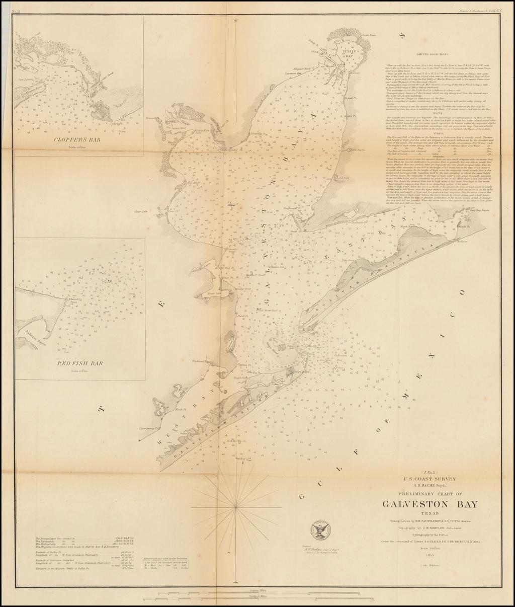 Preliminary Chart of Galveston Bay Texas . . . 1855 - Barry ... on velasco texas map, el paso texas map, la marque texas map, galveston island, san leon texas map, port arthur texas map, webster texas map, texas coastline map, new braunfels texas map, gonzales texas map, galveston bridge, nacogdoches texas map, gainesville texas map, san antonio texas map, harlingen texas map, galveston cruise terminal, beaumont texas map, kemah texas map, houston map, corpus christi map,