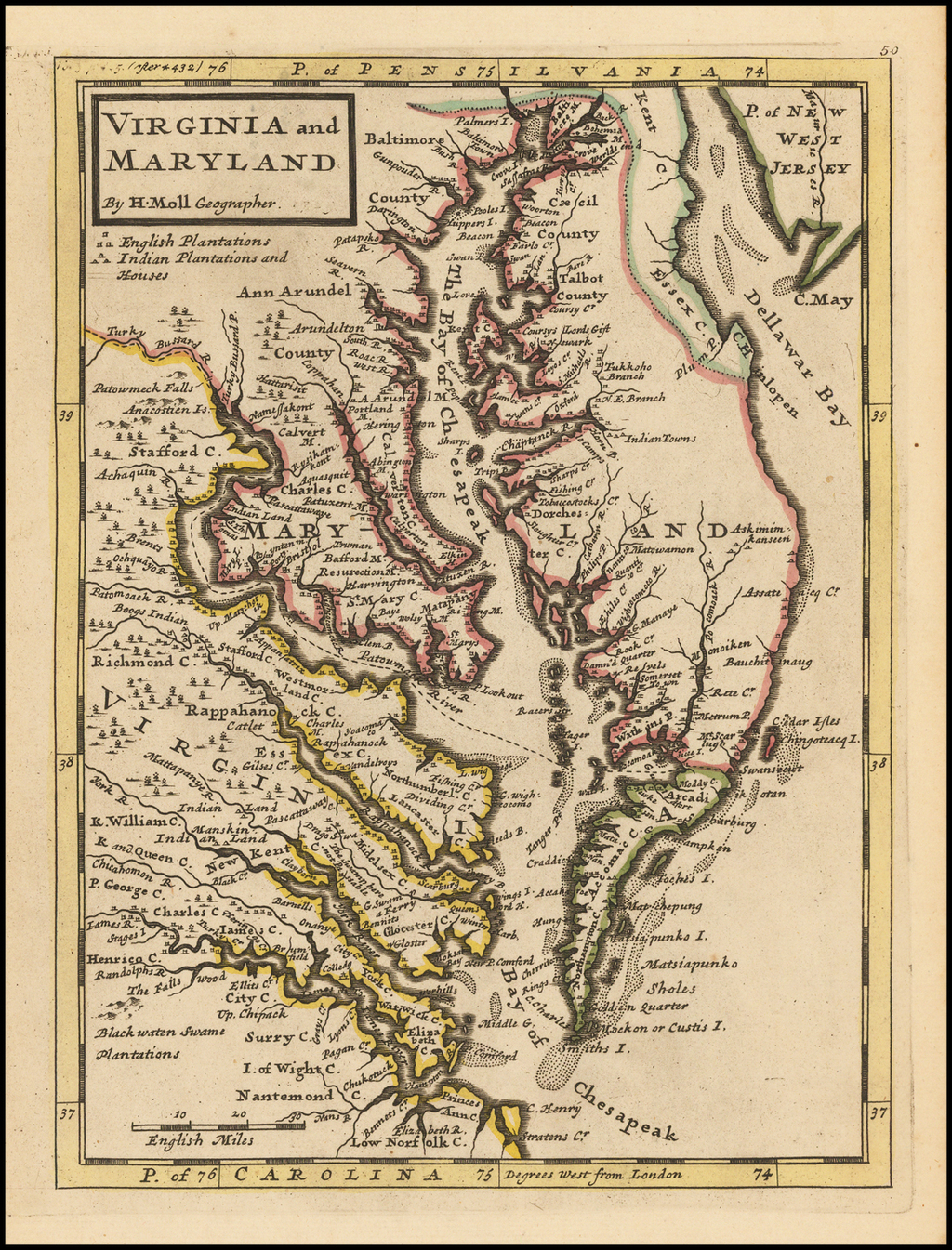 Virginia and Maryland.  By H. Moll Geographer By Herman Moll