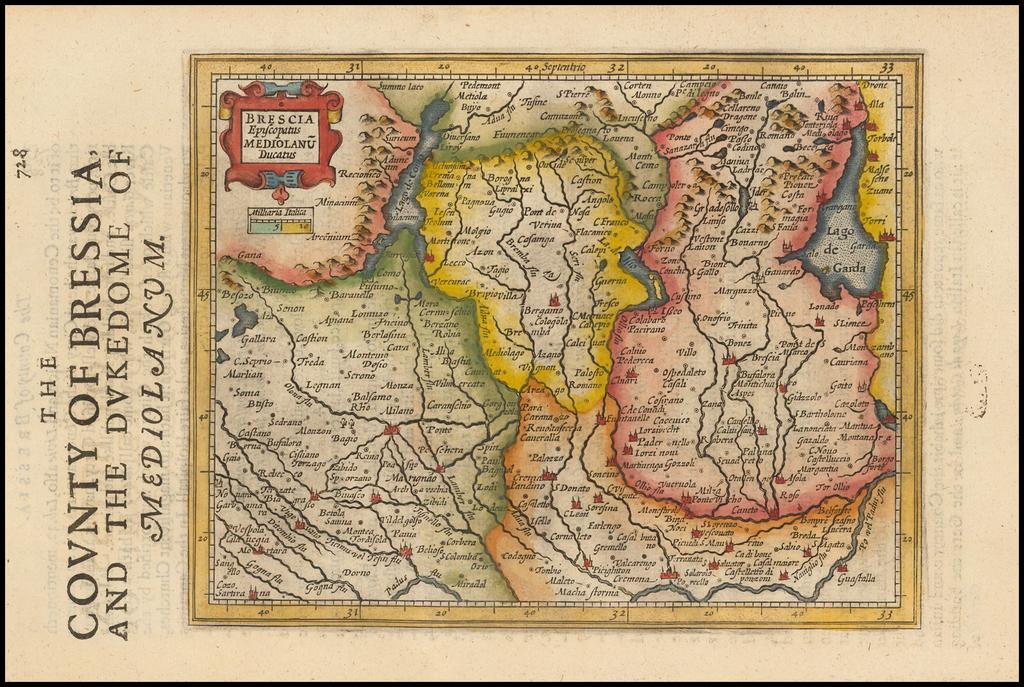 Brescia Episcopatus Mediolanum Ducatus By Jodocus Hondius - Gerhard Mercator