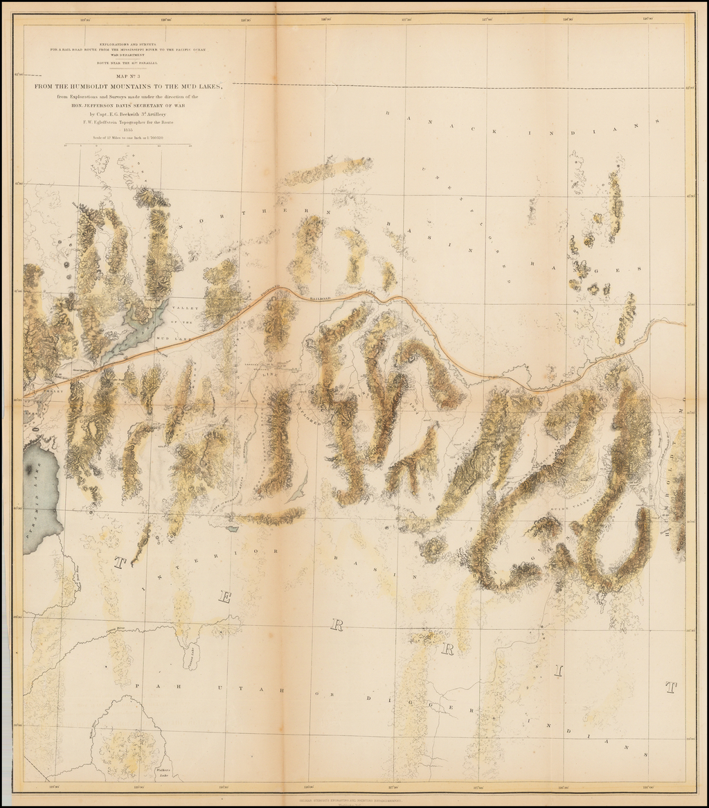 Map No. 5 From The Humboldt Mountains To The Mud Lakes; from Explorations and surveys made under the direction of the Hon. Jefferson Davis Secretary of War by Capt. E.G. Beckwith 3d. Artillery E.W. Egloffstein Topographer for the Route 1855. By U.S. Pacific RR Surveys