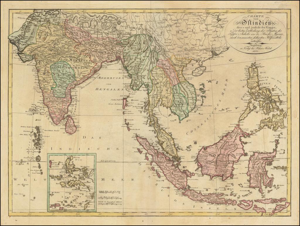 Charte von Ostindien dies- und jenseits des Ganges, u. der lezten Zertheilung der Staaten des Tippo - Sahebs oder des Reiches Mysore . . . 1805 By Johann Walch