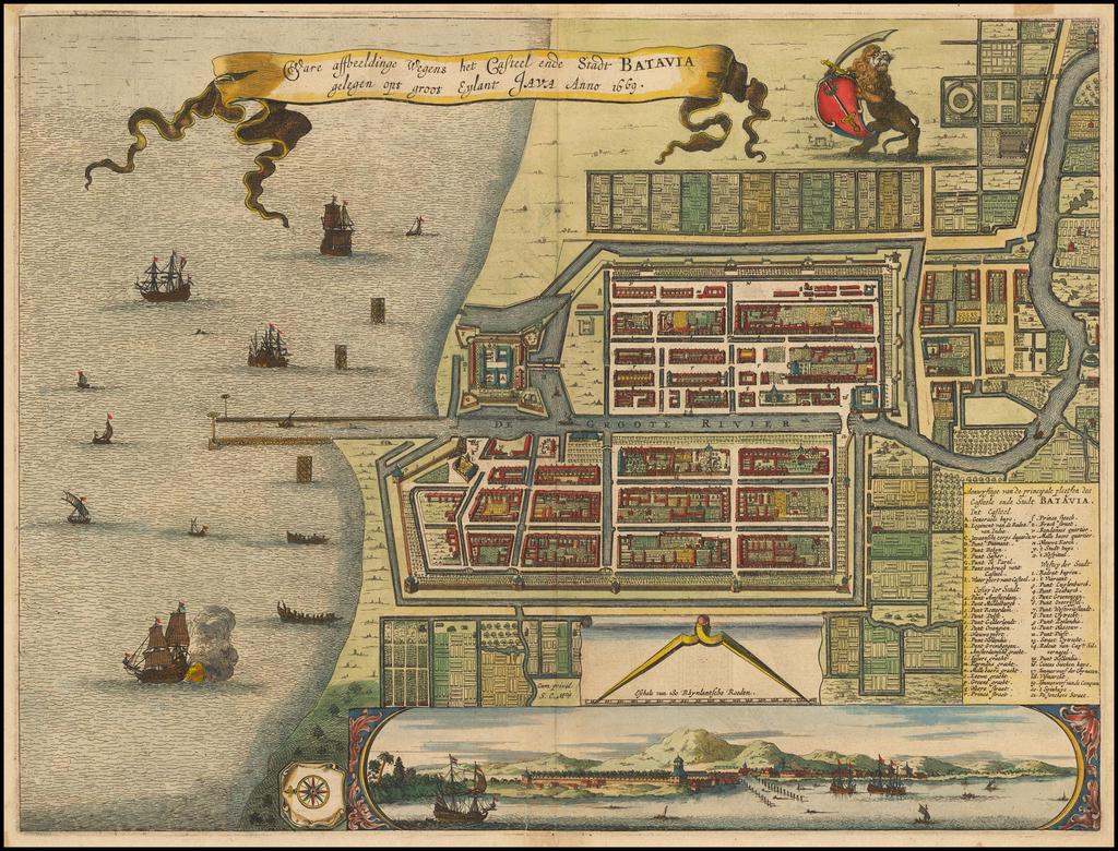 [Jakarta]  Ware affbeeldinge Wegens het Casteel ende Stadt Batavia gelegen opt groot Eylant Java Anno 1669 By Arnoldus Montanus