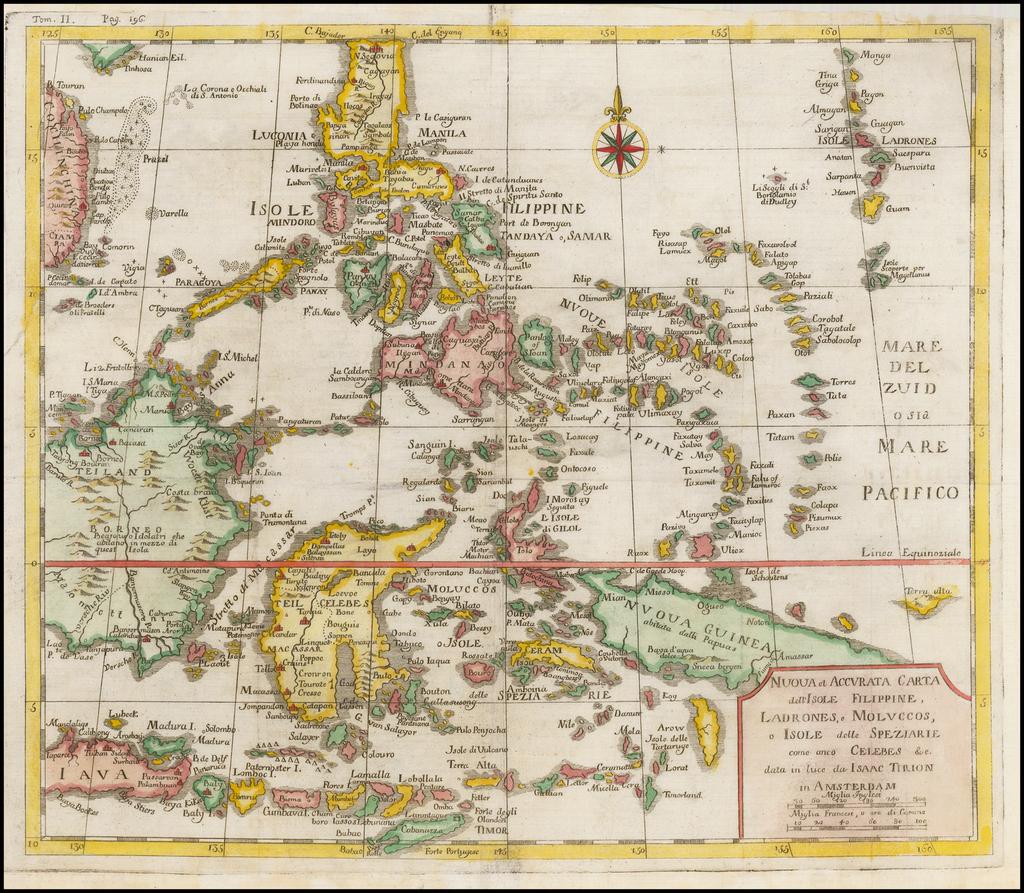 Nuova et Accurata Carta dell' Isole Filippine, Ladrones, a Moluccos o Isole della Speziarie come anco Celebes &c. By Issac Tirion