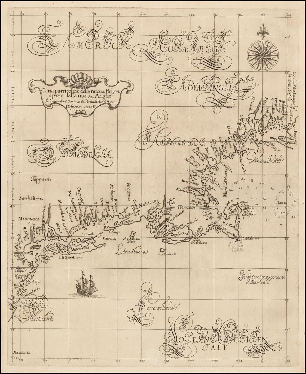 Carta particolare della nuova Belgia e parte della nuova Anglia . . .  By Robert Dudley