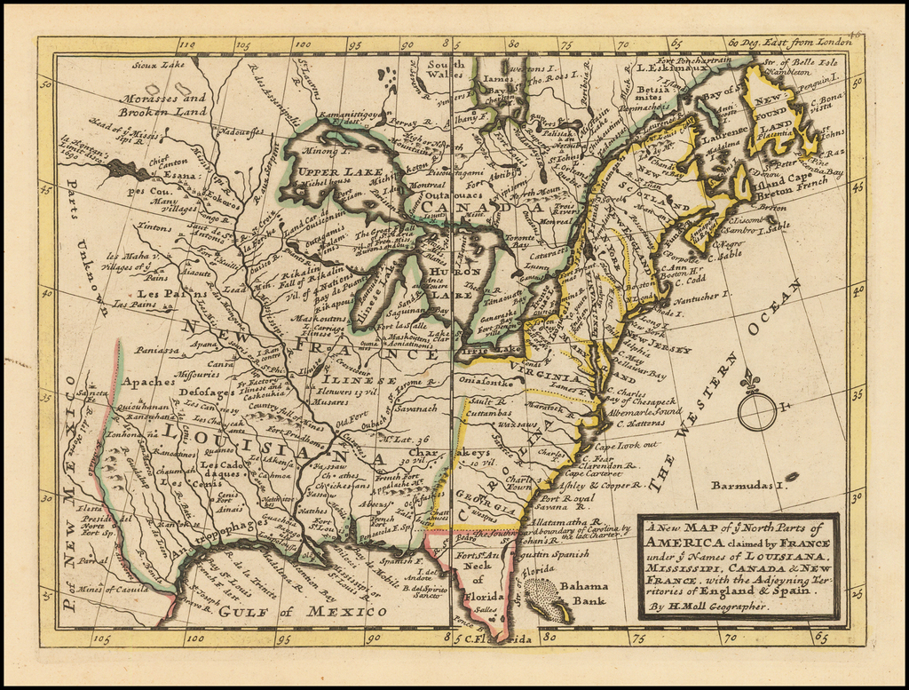 A New Map of ye North Parts of America claimed by France under ye Names of Louisiana, Mississipi, Canada & New France, with the Adjoyning Territories of England & Spain.. By Herman Moll