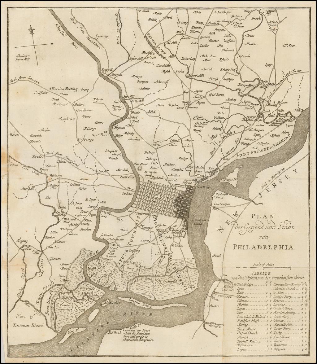 Plan der Gegend und Stadt von Philadelphia By Gabriel Nikolaus Raspe
