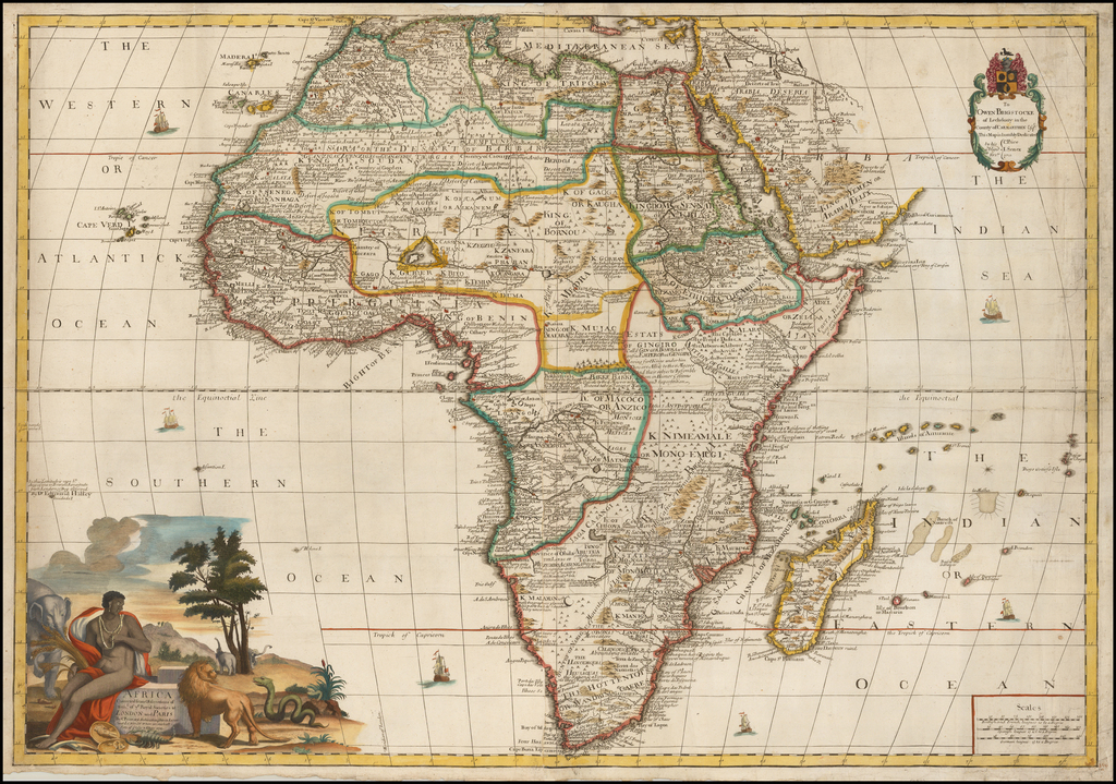 Africa Corrected from Observations of Mess. of ye Royal Societies at London and Paris by C. Price Archimedes in Ludgate Street London Where are made all sorts of Globes & Maps 1711. By John Senex / Charles Price