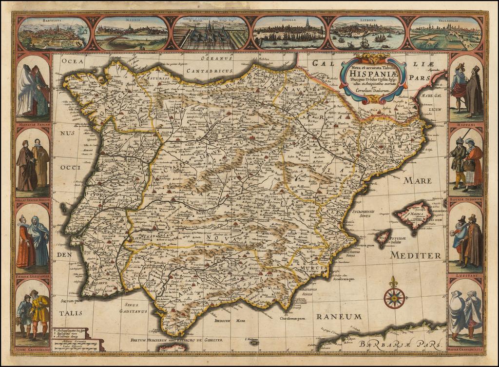 Nova et accurata Tabula Hispaniae Praecipuis Urbibus Vestitu Insignibus et Antiquitatibus . . .  By Cornelis II Danckerts