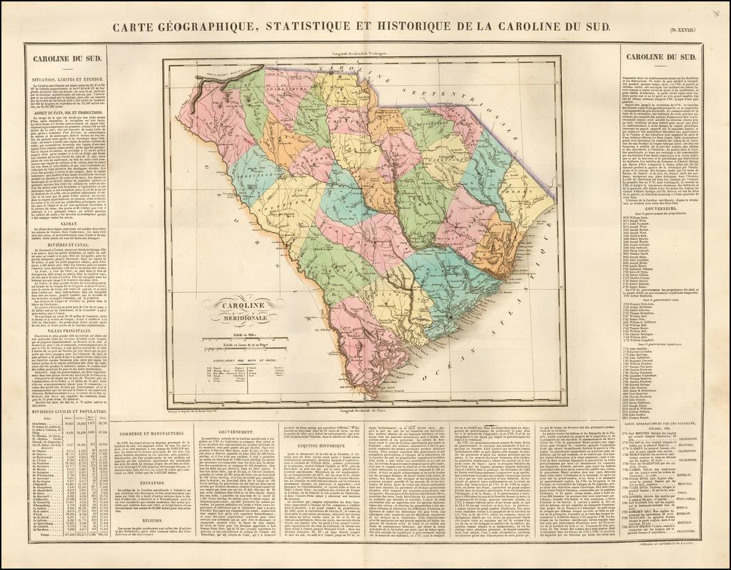 (South Carolina)  Carte Geographique, Statistique Et Historique De La Caroline Du Sud By Jean Alexandre Buchon