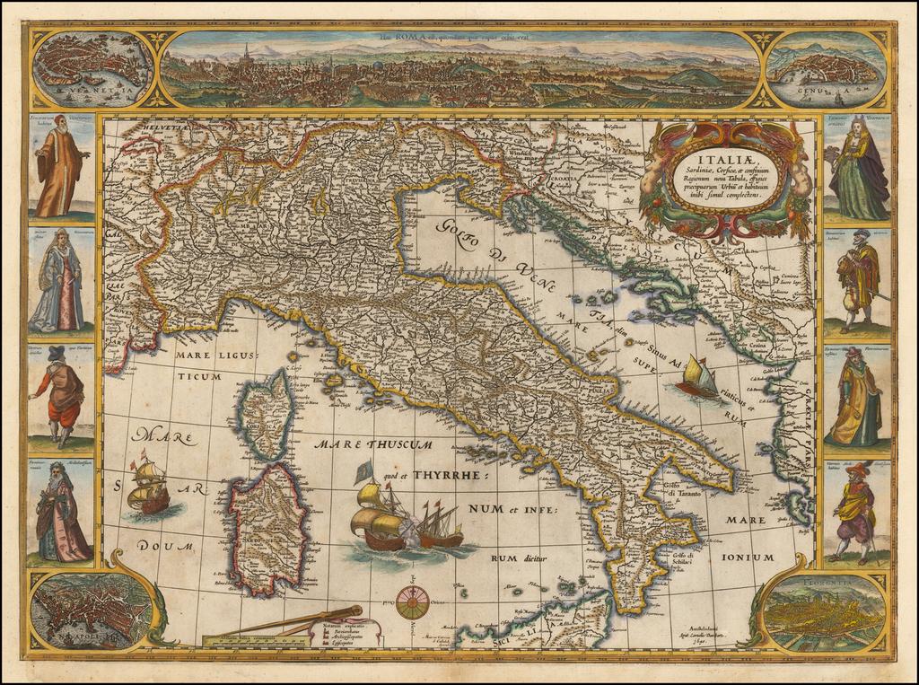 Italiae, Sardiniae, Corsicae, et confinium Regionum nova Tabula effigies praecipuarum Urbiu et habituum inibi simul complectens . . . 1640 By Cornelis II Danckerts