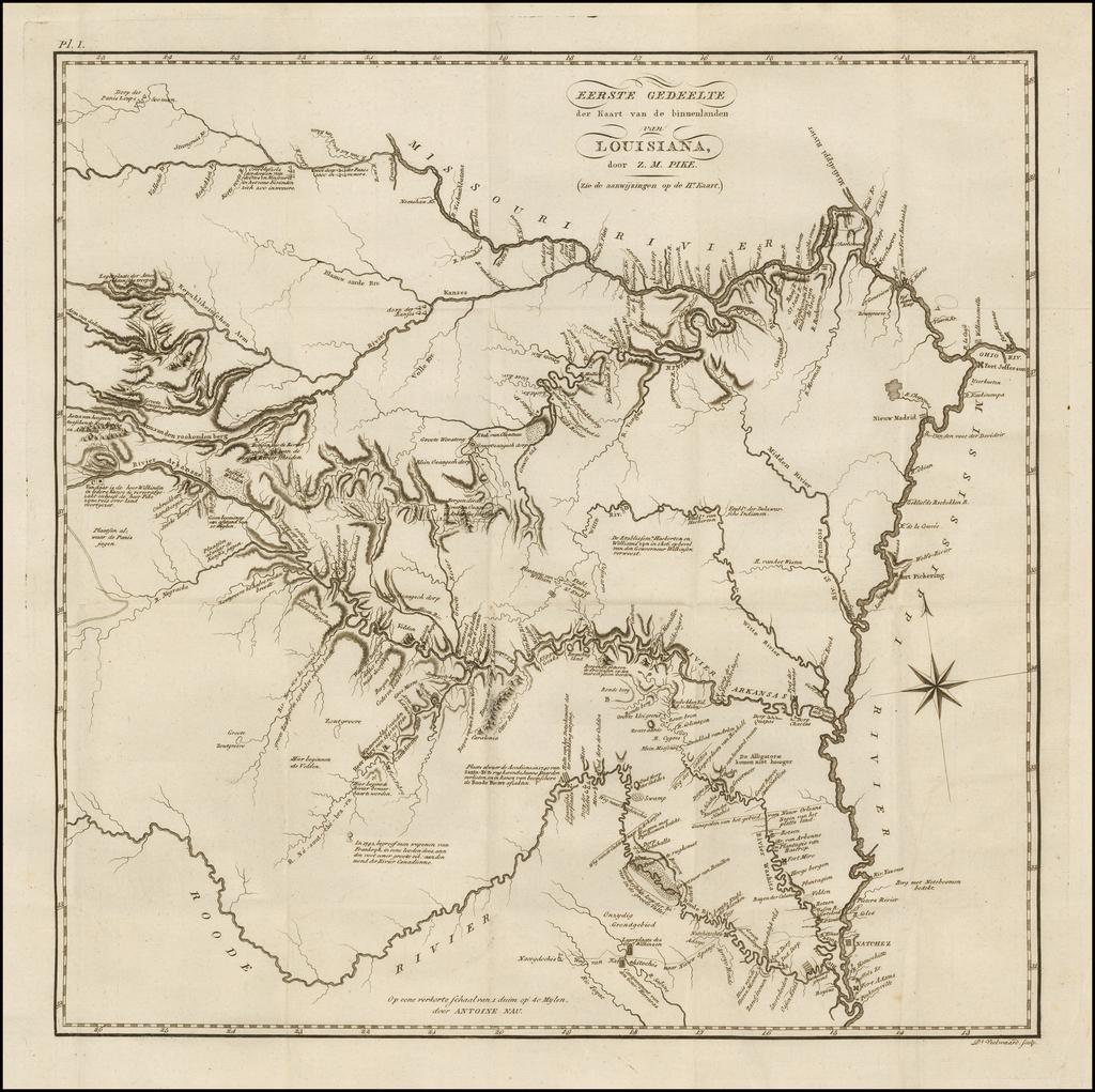 (Texas, Arkansas, Louisiana, Missouri, Kansas, Oklahoma)  Eerst Gedeelte der Kaart van de binnelanden van Louisiana, door Z.M. Pike . . . By Zebulon Montgomery Pike