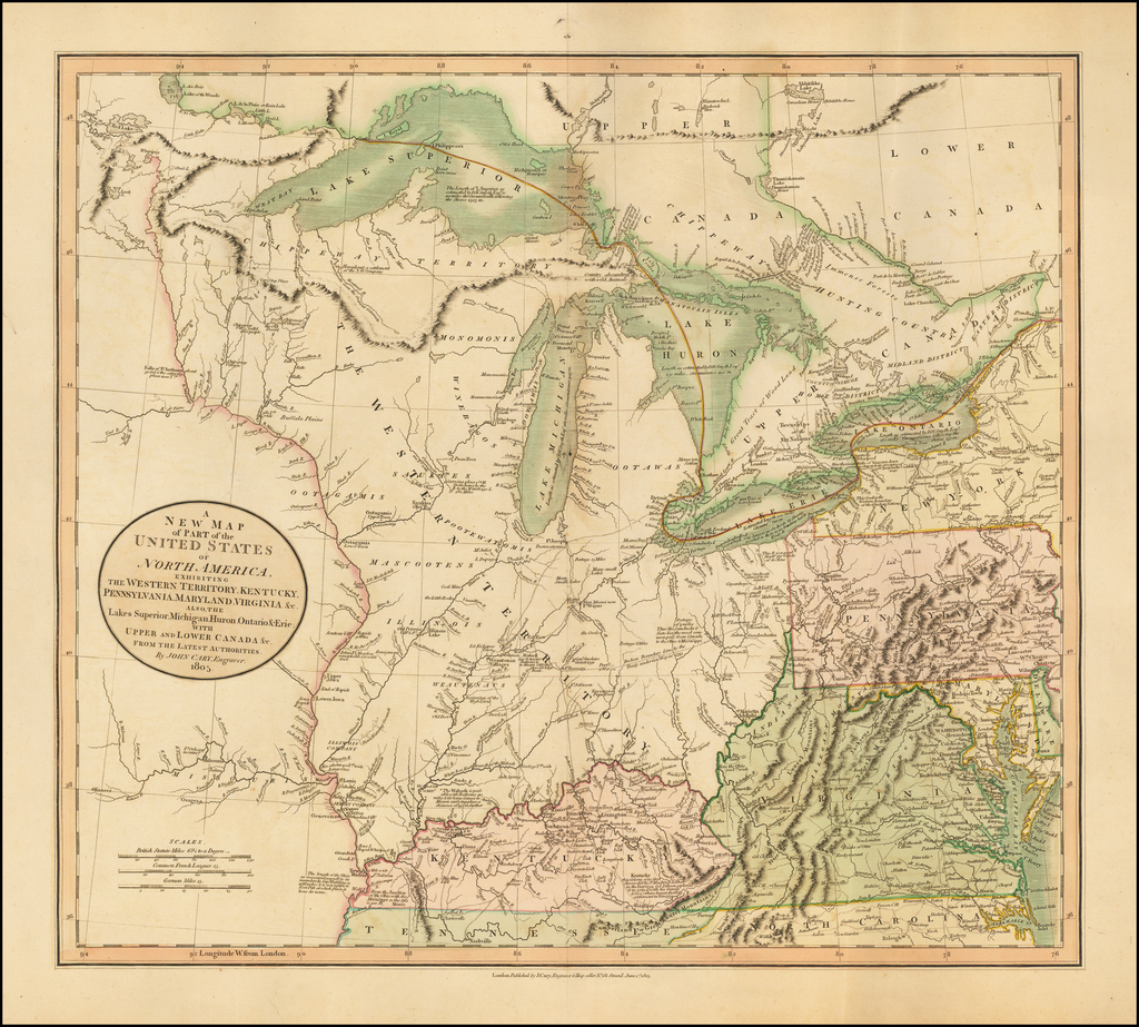 A New Map of Part of the United States of North America, Exhibiting The Western Territory, Kentucky, Pennsylvania, Maryland, Virginia &c. Also the Lakes Superior, Michigan . . . 1805 By John Cary
