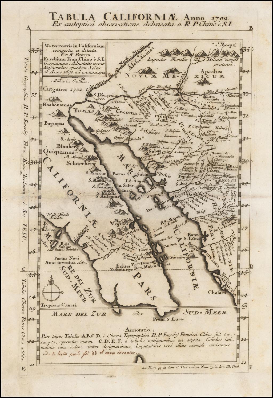 Tabula Californiae Anno 1702 Ex autoptica observatione delineata a R.P. Chino e S.I.  By Fr. Eusebio Kino