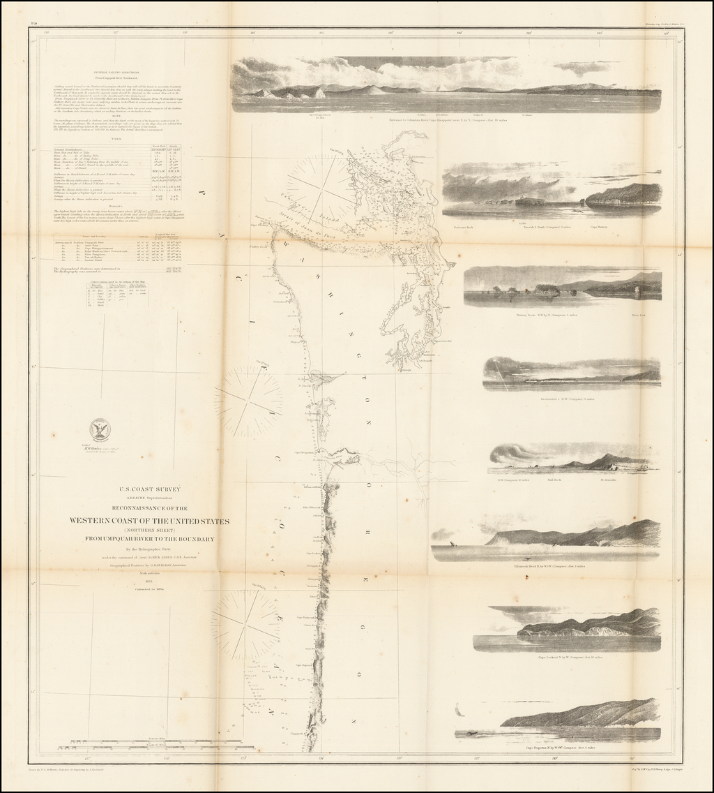 Reconnaissance of the Western Coast of the United States (Northern Sheet)  From Umpquah River to the Boundary By The Hydrographic Party . . . 1855    By United States Coast Survey