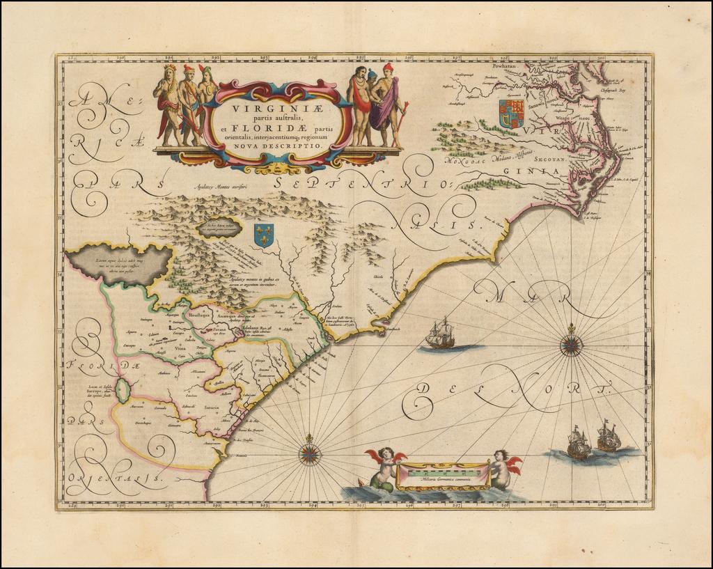 Virginiae Partis australis, et Floridae partis orientalis, interjacentiumqus regionum Nova Descriptio By Willem Janszoon Blaeu