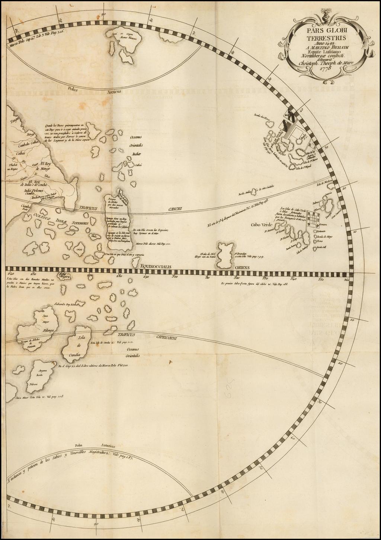 Pars Globi terrestris Ao. 1492 a Martino Behaim Equite Lusitano Norimbergae confecti Delineavit Christoph. Theoph de Murr  1778 By Christoph. Theoph.   de Murr