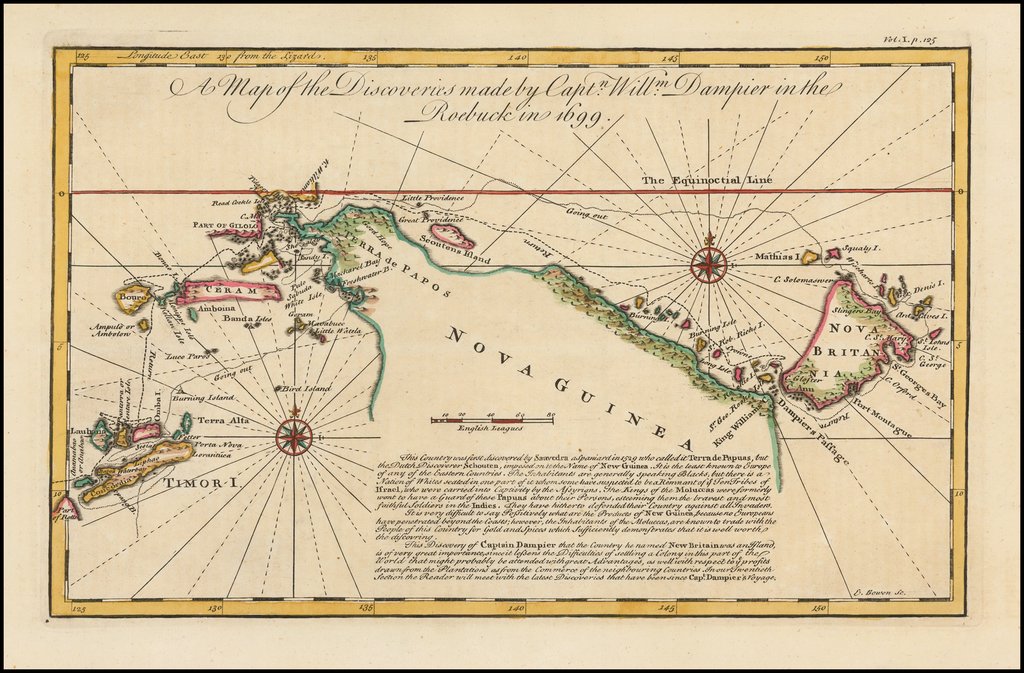 A Map of the Discoveries made by Captn. Willm. Dampier in the Roebuck in 1699 By Emanuel Bowen